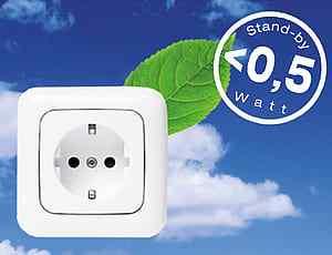 En kontakt ett löv och tecken för lågt watt antal